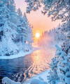 Snowy Winter Stream - Diamond Painting Kit