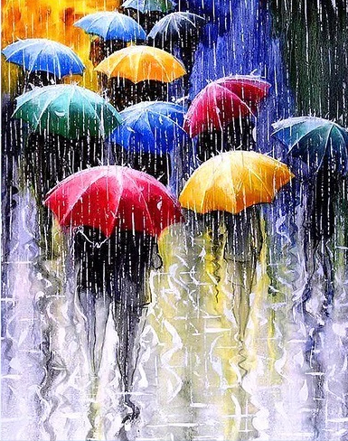 Umbrellas in Rain - Diamond Painting Kit