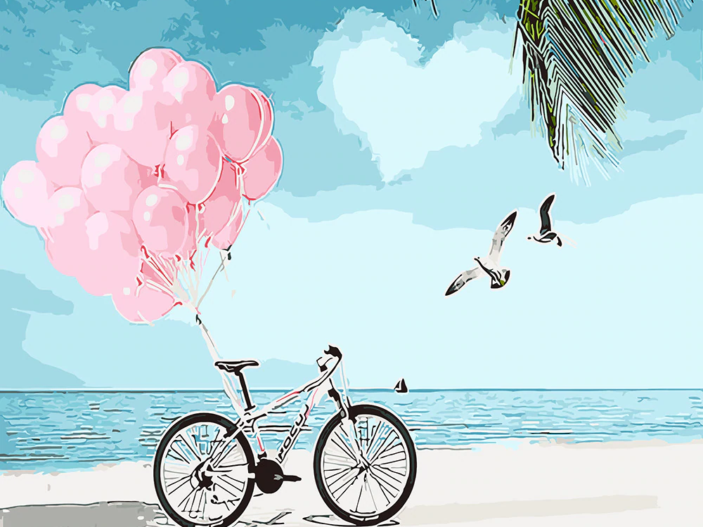 Bicycle and Balloons - Paint By Numbers Kit