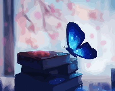 Blue Butterfly on Books - Paint By Numbers Kit