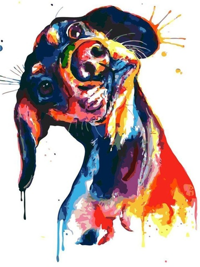 Colorful Hound Dog - Diamond Painting Kit