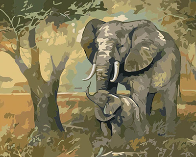 Elephants By Tree - Paint By Numbers Kit