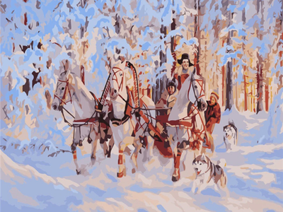 Holiday Horses in Snow - Paint By Numbers Kit