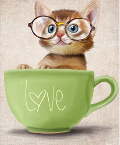 Kitten in Love Cup - Diamond Painting Kit