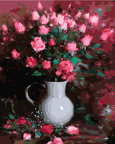Pink Roses in Vase - Paint By Numbers Kit