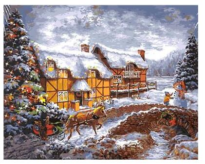 Christmas Snow Wooden Houses - Paint By Numbers Kit