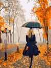 Woman Under an Umbrella in Autumn- Paint By Numbers Kit