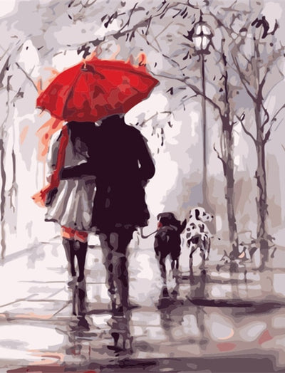 Romantic Walk Under Red Umbrella - Paint By Numbers Kit