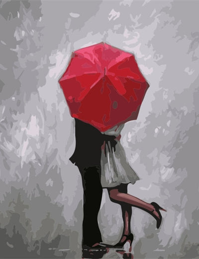 Embrace under a Red Umbrella - Paint By Numbers Kit