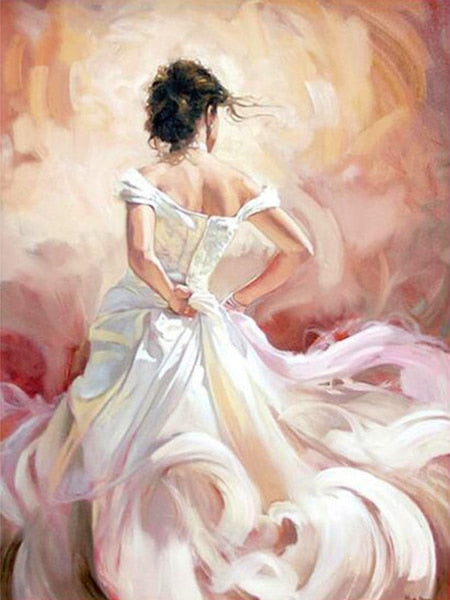 Woman in White Gown - Paint By Numbers Kit