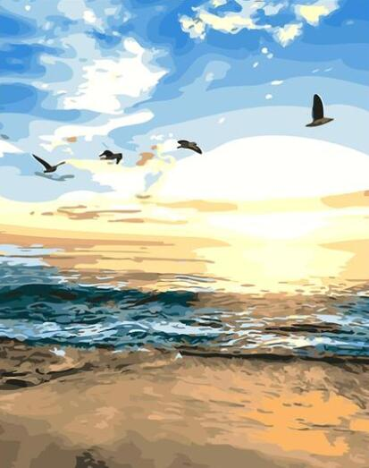 Birds and Beach Sunset - Paint By Numbers Kit