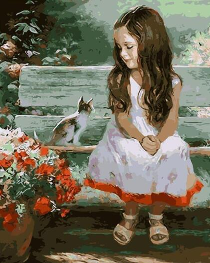 Girl and Cat - Paint By Numbers Kit