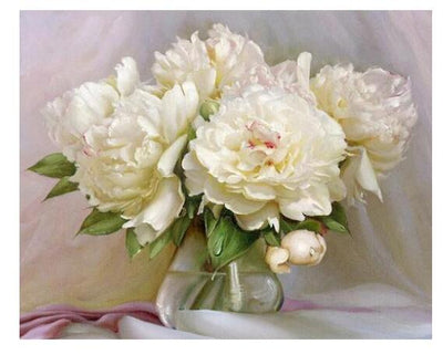 White Flowers - Paint by Numbers Kit