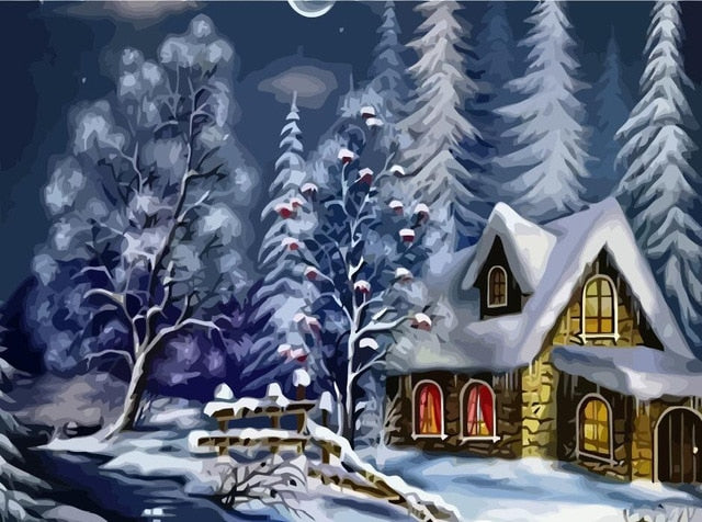 Snowy Winter Cottage - Paint By Numbers Kit