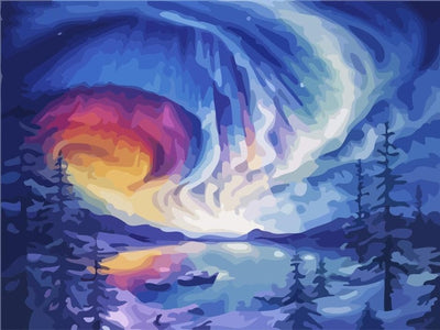 Northern Lights In Winter - Paint By Numbers Kit