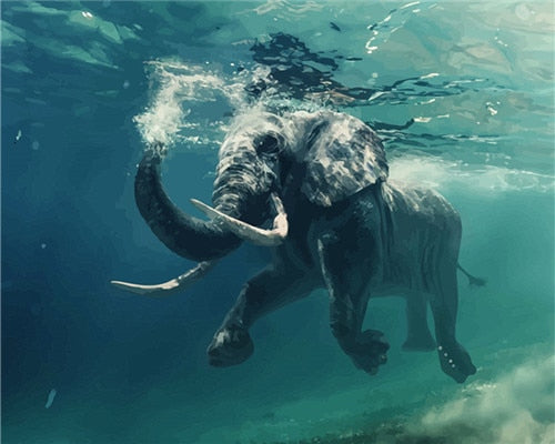 Underwater Elephant - Paint By Numbers Kit