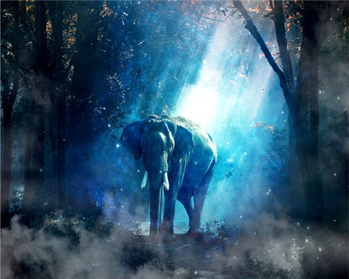 Lone Elephant in Blue Trees - Paint By Numbers Kit