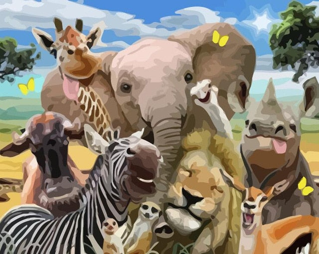Happy Jungle Animals - Paint By Numbers Kit