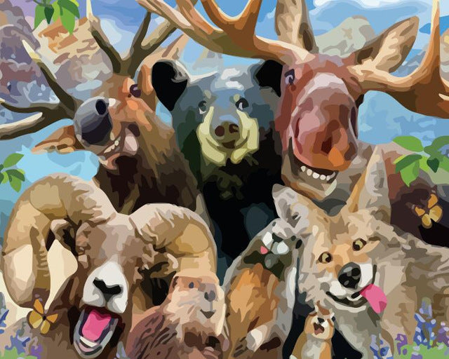 Happy Forest Animals - Paint By Numbers Kit