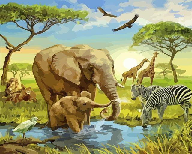 Jungle Animals Coexist - Paint By Numbers Kit