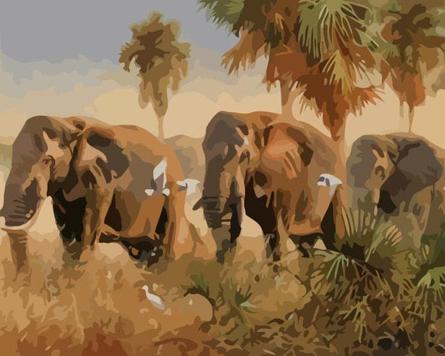 Elephant Trek - Paint By Numbers Kit