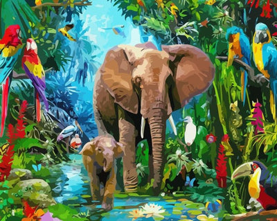 Elephants With Tropical Birds - Paint By Numbers Kit