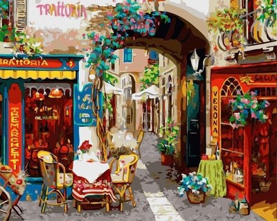 Cafe in Italy - Paint By Numbers Kit