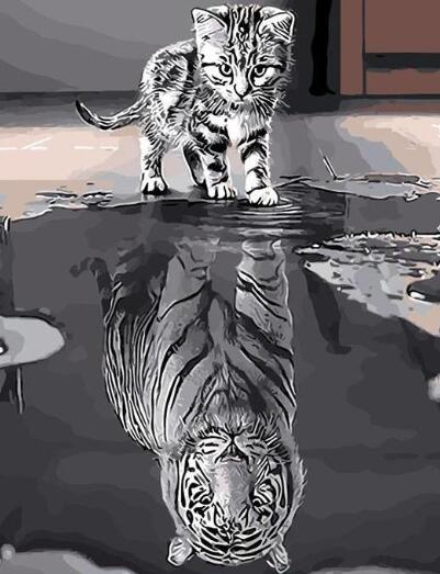 Reflection Tiger Cat - Paint By Numbers Kit