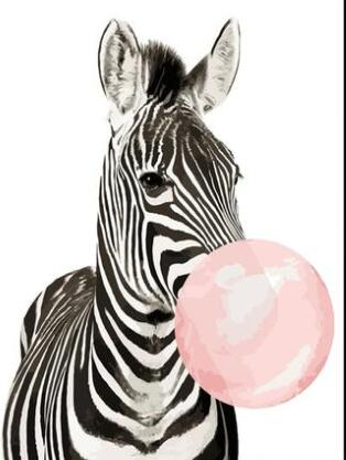 Bubble Gum Zebra - Paint By Numbers Kit