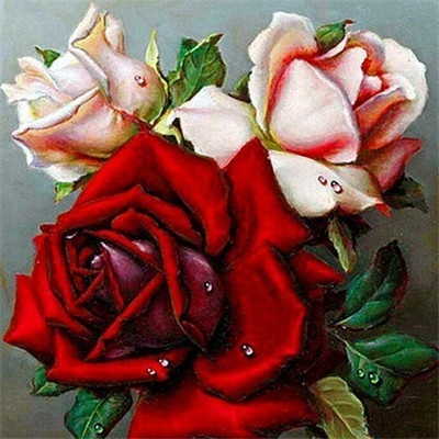 Red Pink Rose Trio - Diamond Painting Kit