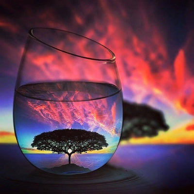 Lone Tree in a Glass - Diamond Painting Kit