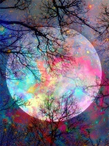 Colorful Super Moon - Diamond Painting Kit