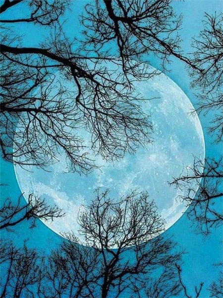 Blue Super Moon - Diamond Painting Kit