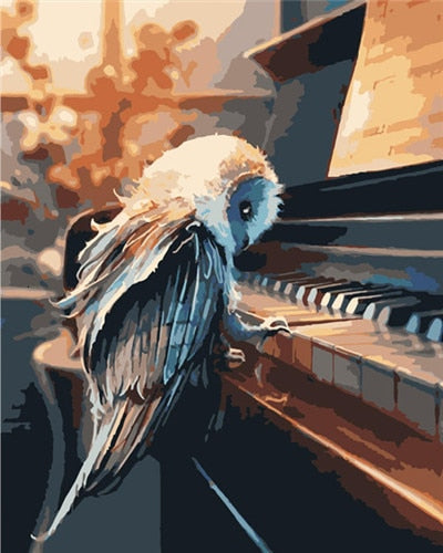 Bird Playing Piano - Paint By Numbers Kit