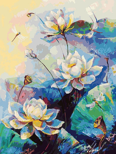 Wild Lotus Flowers - Paint By Numbers Kit