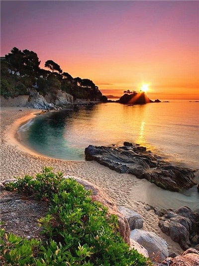 Cove At Sunset - Diamond Painting Kit