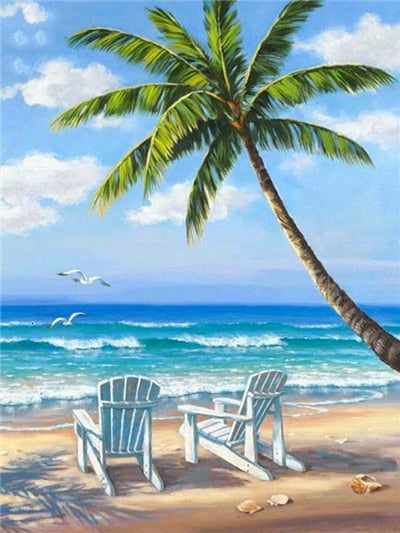 Adirondak Chairs on the Beach - Diamond Painting Kit