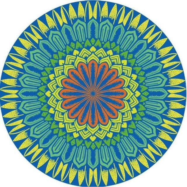 Mandala Green Yellow Orange - Diamond Painting Kit