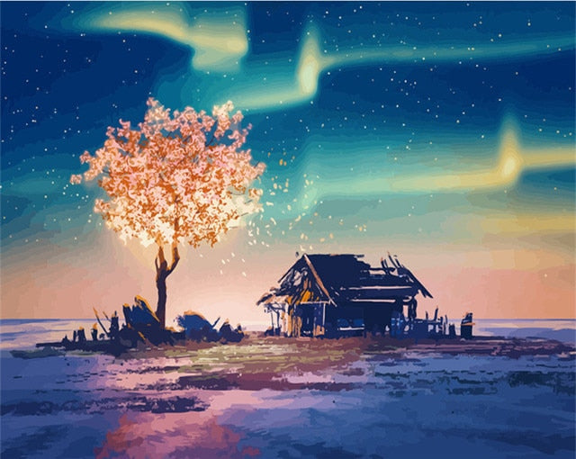 Tree Under Night Sky - Paint By Numbers Kit