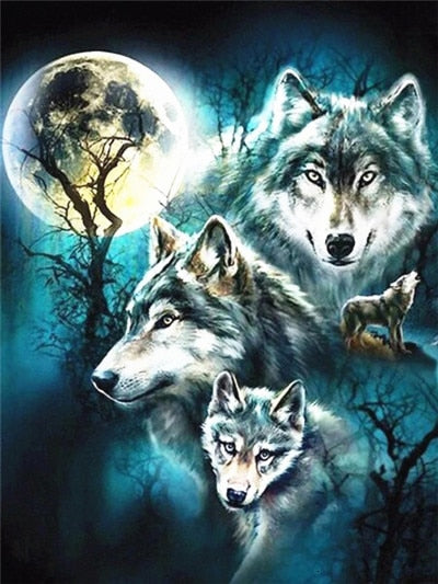Wolves 4 - Diamond Painting Kit
