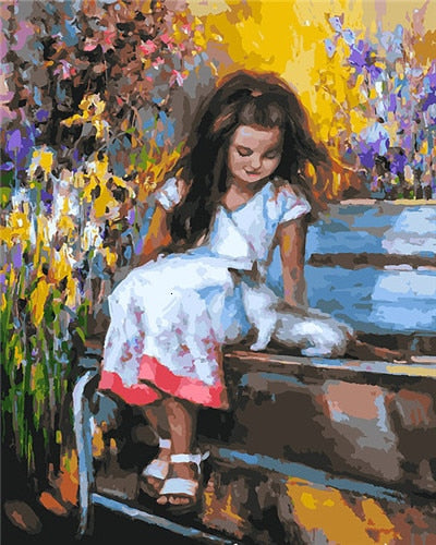 Little Girl in Springtime - Paint By Numbers Kit