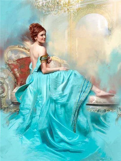 Woman in Aqua Gown Lounging - Diamond Painting Kit