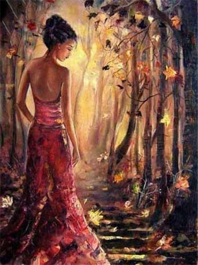 Woman in Fall Forest - Diamond Painting Kit