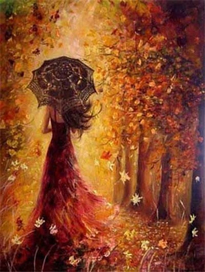 Woman in Windy Autumn Day - Diamond Painting Kit