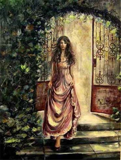Woman on Steps - Diamond Painting Kit