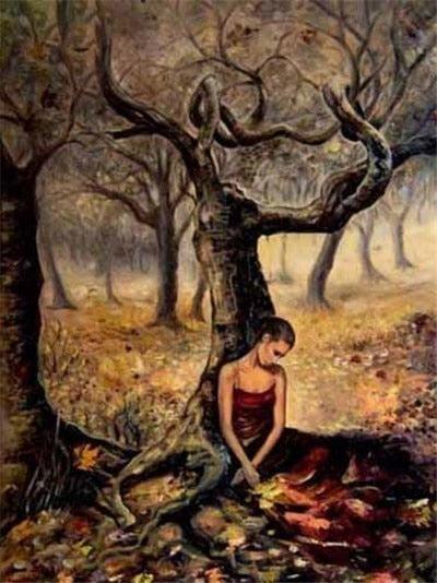 Lone Woman Under Tree - Diamond Painting Kit