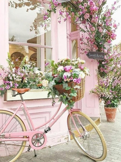 Pink Bicycle with Spring Flowers - Diamond Painting Kit