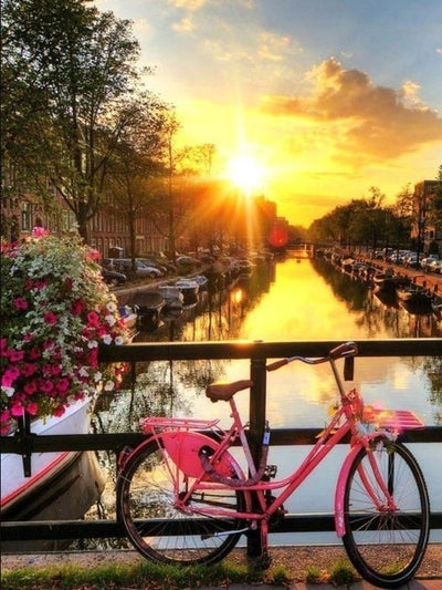 Pink Bicycle in Amsterdam - Diamond Painting Kit