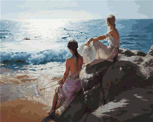 Sitting By The Sea - Paint By Numbers Kit