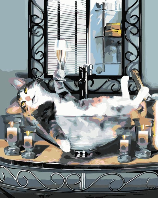 Cat Spa Day - Paint By Numbers Kit